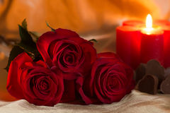 Valentines Day Celebration. Romantic Valentines Day Celebration with roses and chocolate royalty free stock image