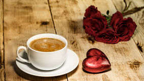 Valentines Day Celebration. Romantic Valentines Day Celebration with roses and coffee stock photo