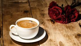 Valentines Day Celebration. Romantic Valentines Day Celebration with roses and coffee stock photography