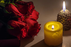 Valentines Day Celebration. Romantic Valentines Day Celebration with roses, sweets and candles stock photo