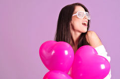 The Valentines day celebrities. Woman with balloons hearts Royalty Free Stock Photo