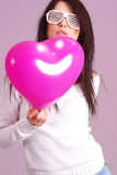 The Valentines day celebrities. Woman with balloons hearts Stock Photo