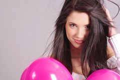 The Valentines day celebrities. Woman with balloons hearts Stock Image