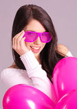 The Valentines day celebrities. Woman with balloons hearts Stock Images