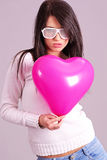The Valentines day celebrities. Woman with balloons hearts Stock Photography