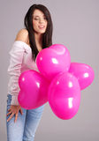 The Valentines day celebrities. Woman with balloons hearts Royalty Free Stock Image