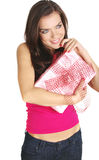 The Valentines day celebrities. Woman with gift box Royalty Free Stock Photos
