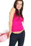 The Valentines day celebrities. Woman with gift box Royalty Free Stock Photo