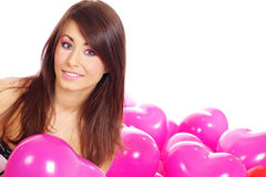 The Valentines day celebrities. Woman with balloons hearts Royalty Free Stock Photography