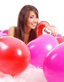 The Valentines day celebrities. Woman with balloons hearts Royalty Free Stock Images