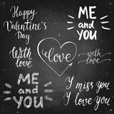 Valentines day chalk calligraphy lettering set. Set of chalck leterring for valentines day, wedding, card on a chalk board. Handdrawn vector lettering. Design by Royalty Free Stock Images