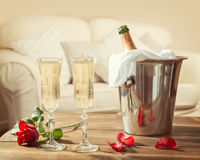 Valentines Day Champagne. Romantic champagne for two on Valentines Day Royalty Free Stock Photo