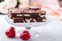 Valentines day cheesecake brownies Stock Photos