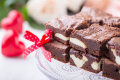 Valentines day cheesecake brownies Royalty Free Stock Photo