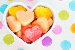 Valentines Day child friendly healthy treat with heart-shaped fruit Royalty Free Stock Photos