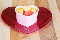 Valentines Day child friendly healthy treat with heart-shaped fruit Stock Images