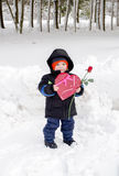Valentines day child in snow Stock Images