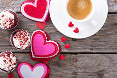Valentines day coffee and cupcakes copy space Stock Photos
