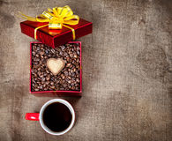 Valentines day coffee present royalty free stock photography