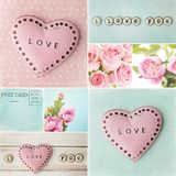 Valentines day collage. Valentines day background with hearts collage Stock Image