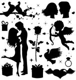Valentines day collection. Collection of  Valentines day silhouettes Stock Photo