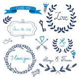 Valentines day collection with flowers, wreaths and other graphic elements. Retro style floral wreaths. Stock Image
