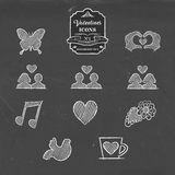 Valentines day collection of vintage sketch icon Stock Photo