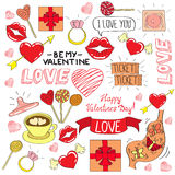 Valentines day color icones set Stock Photography