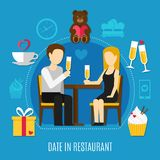 Valentines Day Colored Composition. Flat valentines day colored composition with couple on romantic date in restaurant vector illustration Royalty Free Stock Photo