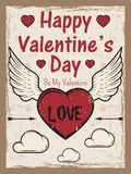 Valentines day colored vintage poster with heart with arrow and wings, clouds. Valentines day greeting card template. Stock Image