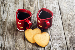 Valentines Day Composition. Coffee Cups And Hearts. Stock Photography