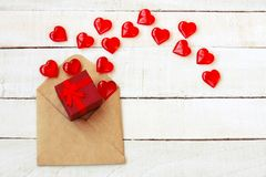 Valentines day composition, envelope, gift box, transparent hear Stock Photos