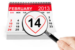 Valentines Day Concept. 14 february calendar with magnifier on a white background Royalty Free Stock Photos