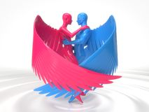 Valentines day concept with angelic characters on liquid floor. 3d illustration royalty free illustration