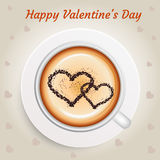Valentines Day concept background with hot coffee Stock Image