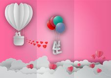 Valentines day concept with balloon and heart shape on pink background with text love, Paper cut style. Vector illustration.  Royalty Free Stock Photos