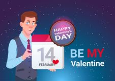 Valentines Day Concept Banner Cute Man Holding Calendar Page 14 February Holiday. Flat Vector Illustration stock illustration
