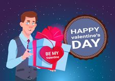 Valentines Day Concept Banner Cute Man Holding Gift Box With Heart Shape Label 14 February Holiday. Flat Vector Illustration Royalty Free Stock Images