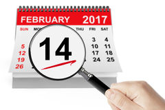 Valentines Day Concept. 14 February Calendar with Magnifier Stock Image