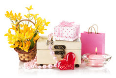 Valentines day concept with gift and flowers Royalty Free Stock Photo