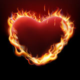 Valentines day concept. Heart in flame. EPS 10. Vector file included Stock Photos