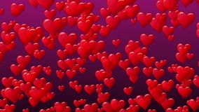 Valentines Day concept. Hearts lift up motion. Animated seamless loop. Purple background. Valentines Day concept. Hearts lift up motion. Animated seamless loop stock video footage