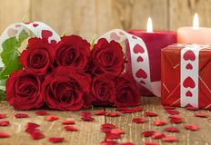 Valentines Day concept with red roses royalty free stock images