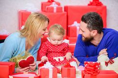 Valentines day concept. Together on valentines day. Lovely family celebrating valentines day. Happy parents. Enjoying stock photo