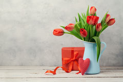 Valentines day concept with tulip flowers and gift box Royalty Free Stock Photography