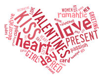 Valentines day concept in word tag cloud Stock Images