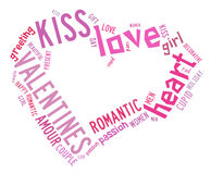 Valentines day concept in word tag cloud Stock Photography