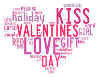 Valentines day concept in word tag cloud Royalty Free Stock Photos