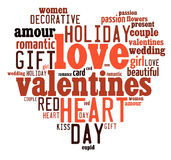 Valentines day concept in word tag cloud Royalty Free Stock Photography