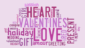 Valentines day concept in word tag cloud Royalty Free Stock Image